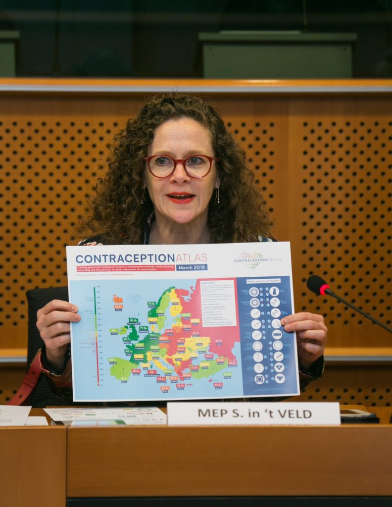 MEP Sophie in't Veld brandishing the atlas at its European Parliament launch on 11th April.